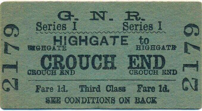 Highgate to Crouch End Railway Ticket (1916)