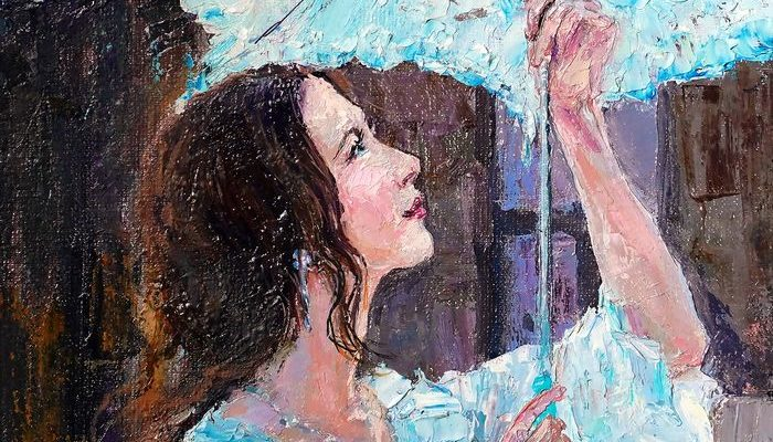 The Girl With Umbrella Oil Painting