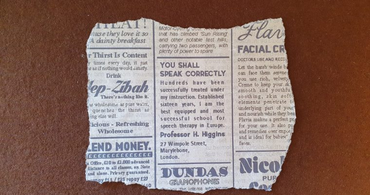 Design Process Of: Henry Higgins' Newspaper Clipping
