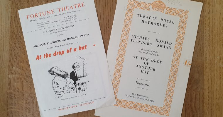 """Flanders & Swann """"At The Drop Of A Hat"""" Programmes (1950s & 1960s)"""